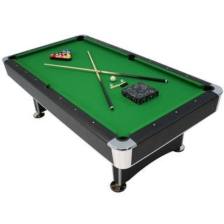 Sunnydaze 8-Foot Pool Table with Accessories - Ball Return and Leveling Feet