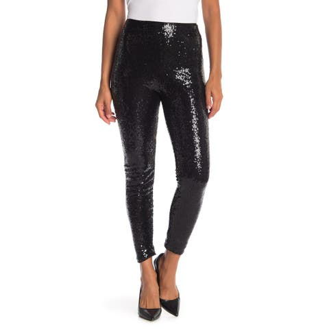 Wayf Womens Leggings Black Size Small S Skinny Ankle Sequin High Waist
