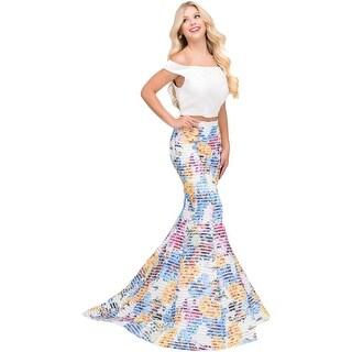 Jovani 2PC Floral Print Crop Top Dress