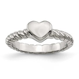 Chisel Stainless Steel Polished Twisted Heart Ring (2 mm) (4 options available)