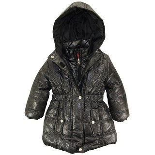 Pink Platinum Little Girls' All Over Spray Print Long Puffer Winter Jacket