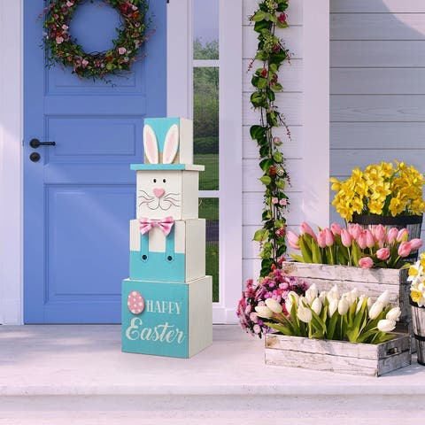 Glitzhome 24''H Double Sided Wooden Porch Decor Easter and July Fourth