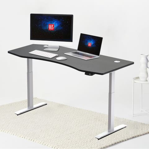 "Hi5 Ez Electric Height Adjustable Standing Desk with ergonomic contoured Tabletop (71""x 31.50"") with 4 Color Options"