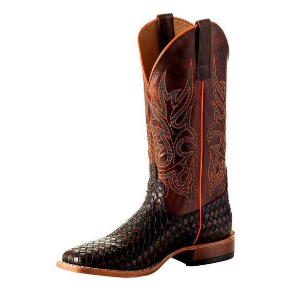 Horse Power Western Boots Mens Weave Square Roper Black Tan