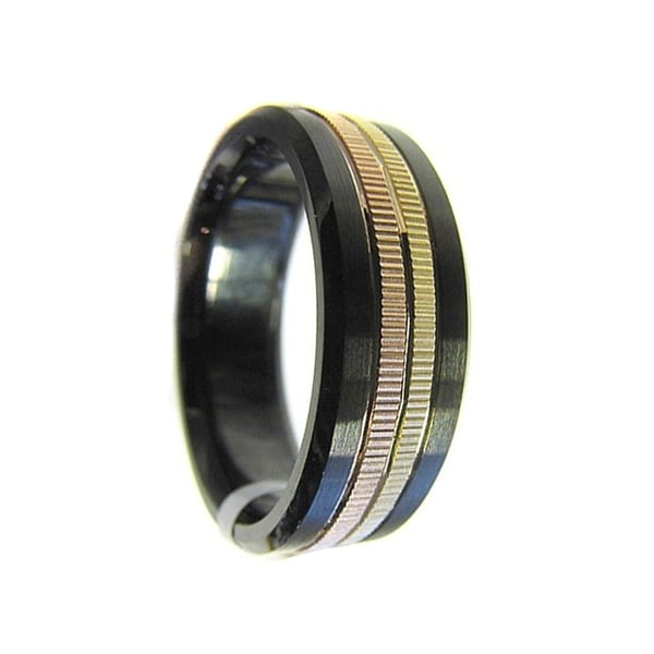 Men's Black Cobalt Wedding Ring 14k Yellow & Rose Gold Coin Edge Inlay by Crown Ring - 7.5 mm