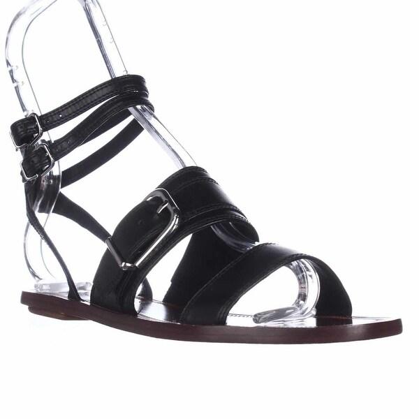 Via Spiga Sedana Ankle Wrap Flat Sandals, Black Leather