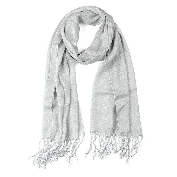 Shiny Glitter Shawl Wrap Scarves with Tassel for Women Men Silver