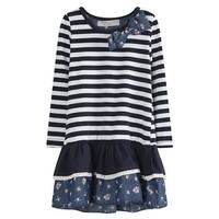 Richie House Little Girls White Navy Striped Floral Print Dress 1-4