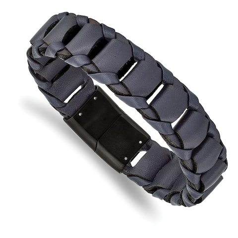 Chisel Stainless Steel Brushed Black IP-plated Blue Leather 8.5 Inch Bracelet