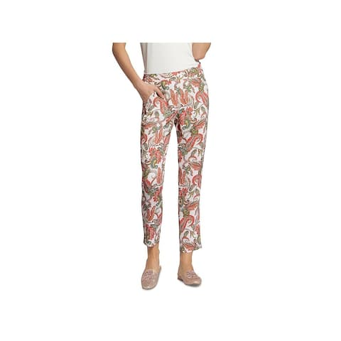 Basler Womens Straight Leg Pants Paisley Print Glitter - White Multi