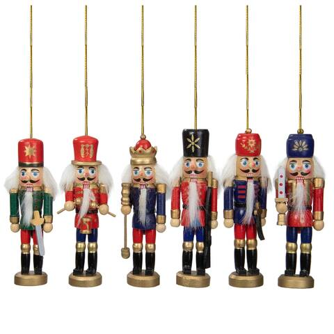 Set of 6 Red and Blue Classic Nutcracker Christmas Ornaments 5.25""
