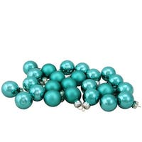 "24-Piece Shiny and Matte Teal Green Glass Ball Christmas Ornament Set 1"" (25mm)"