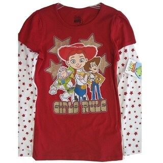 Disney Girls Red White Toy Story Character Star Long Sleeve T-Shirt 7-16