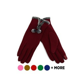 Link to Women's Stylish Touch Screen Gloves with Faux Fur Trim & Fleece Lining Similar Items in Gloves