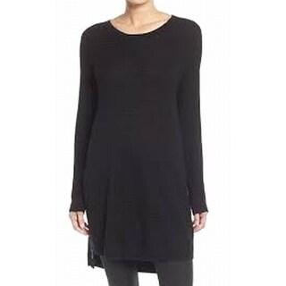 Trouve NEW Black Women's Size Large L Zip Trim Scoop Neck Tunic Sweater
