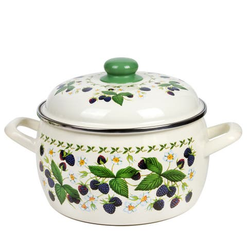 MET-ROT Blackberry Forest Enamel on Steel 7.9-quart High-End Stock Pot