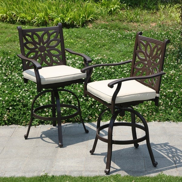 PHI VILLA Outdoor Patio Swivel Bar Stools Cast Aluminum Arms Chairs Set of 2 with Seat Cushion. Opens flyout.