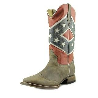 Roper Rebel Flag Men 2E Round Toe Leather Multi Color Western Boot