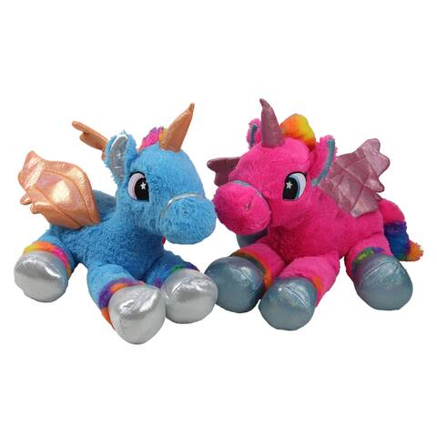 "Set of 2 Super Soft and Plush Pink and Blue Sitting Winged Unicorns Stuffed Animal Figures 23.5"""