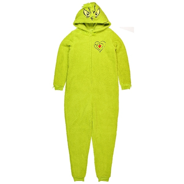 8d9e0640a71b Shop How the Grinch Stole Christmas Costume Hooded Women s Unionsuit Pajama  - Free Shipping Today - Overstock - 19271869