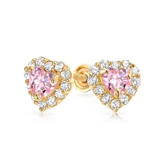 Bling Jewelry 14k Gold Pink Cz Heart Baby Back Stud Earrings On Free Shipping Today 17989304