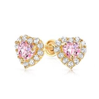 Bling Jewelry 14K Gold Pink CZ Heart Baby Screw Back Stud Earrings