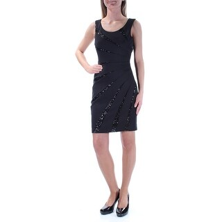 GUESS Womens Black Sequined Sleeveless Jewel Neck Above The Knee Party Dress Size: 2
