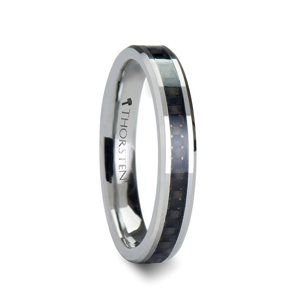 THORSTEN - MAXIMUS Black Carbon Fiber Inlay Tungsten Carbide Wedding Band - 4mm