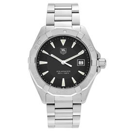 Tag Heuer Men's 'Aquaracer' WAY1110.BA0910 Stainless Steel Black Dial Bracelet Watch