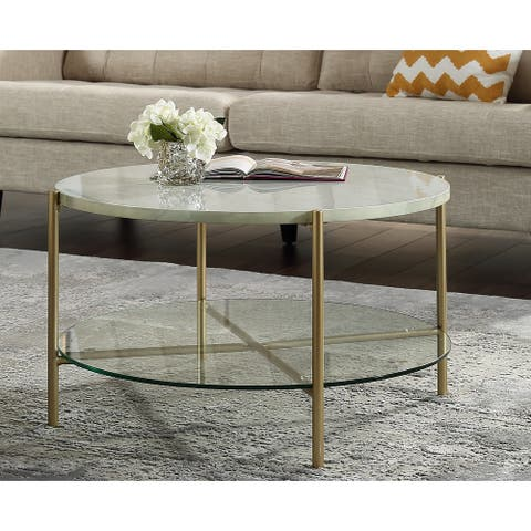 Silver Orchid Howell Faux Marble Round Coffee Table