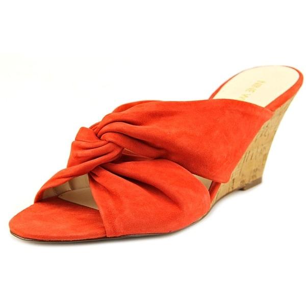 Nine West Kessie Women Open Toe Suede Orange Wedge Heel