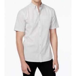 WHT Space NEW White Gray Mens Size XL Dot Print Button Down Shirt