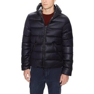 Duvetica Melange Hoodie Puffer Jacket Small Dark Navy Pure Goose Down
