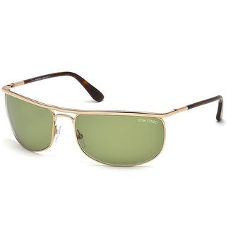 Tom Ford Mens FT0418-28N Ryder Sunglasses Shiney Rose Gold Frame Green Lens