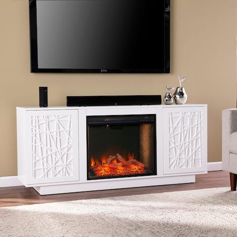 Strick & Bolton Delauro Alexa Smart Fireplace w/ Media Storage