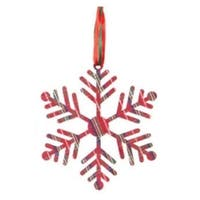 "8"" Country Cabin Red Tartan Plaid Fernlike Stellar Snowflake Christmas Ornament"