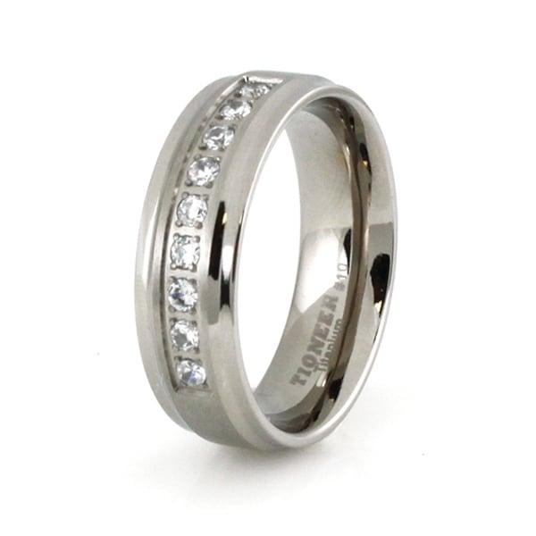 Titanium Ring with Cubic Zirconia
