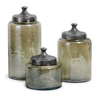 Set of 3 Rustic Tinted Hammered Glass Jar Canisters with Lids
