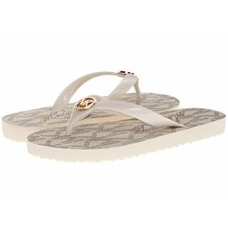 Michael Kors Jet Set Rubber PVC Women Flip Flops Sandals- Vanilla