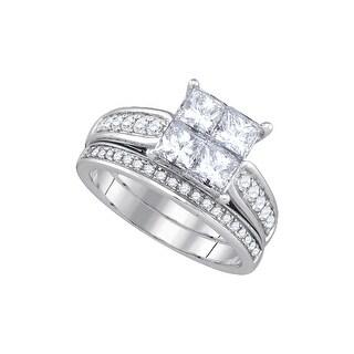 1 Ctw Diamond Invisible Bridal Set White-Gold 14K