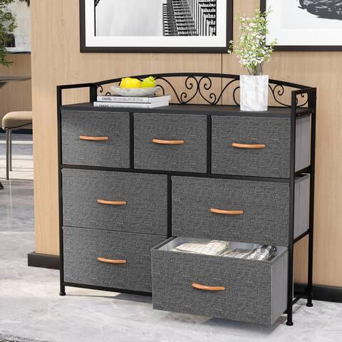 VredHom Wide 7 Drawers Dresser Fabric Storage Chest Organizer Tower