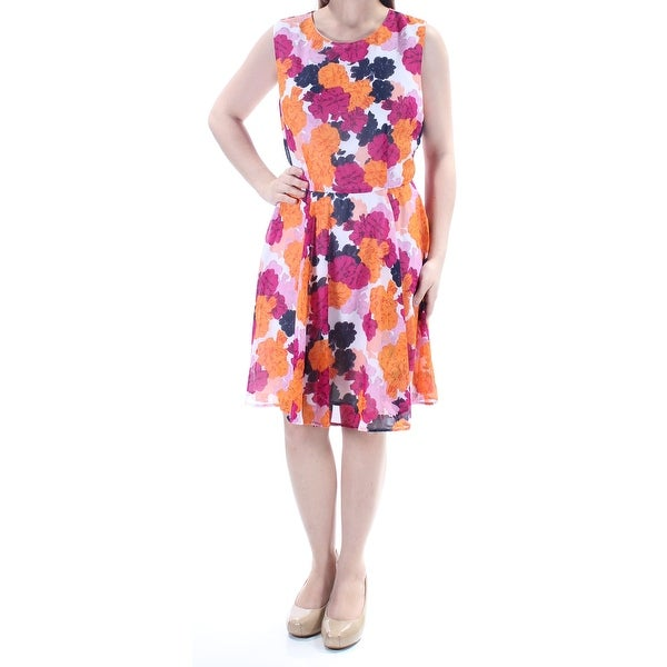 32d7239f30401 Shop Womens Orange Floral Sleeveless Knee Length Dress Size: S ...