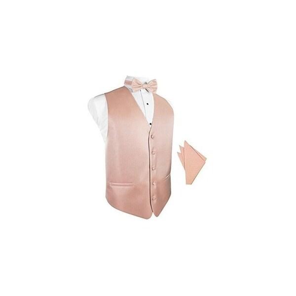 ed155305e230 Shop Peach Herringbone Tuxedo Vest with Bowtie & Pocket Square Set - Free  Shipping Today - Overstock - 25446983