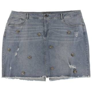 Nanette Lepore Womens Plus Denim Skirt Embellished Knee Length - 22W https://ak1.ostkcdn.com/images/products/is/images/direct/145a02630f5fbad4de1b395b3c6fe90a0c8b099a/Nanette-Lepore-Womens-Plus-Denim-Skirt-Embellished-Knee-Length.jpg?impolicy=medium