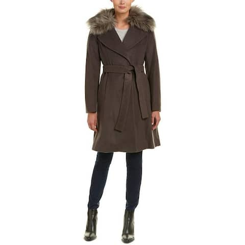 Elie Tahari Women's Flora Brown Wool Coat