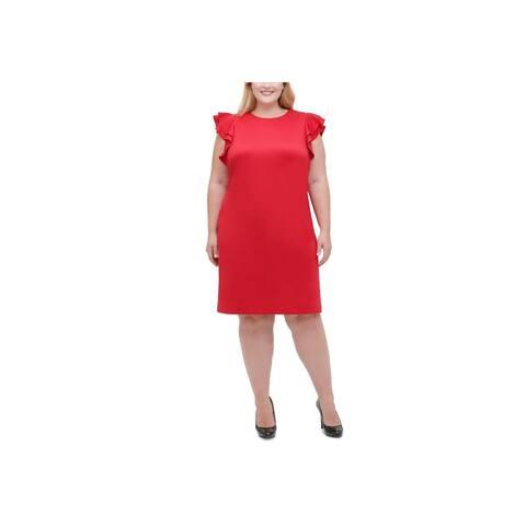 TOMMY HILFIGER Red Cap Sleeve Knee Length Dress 20W
