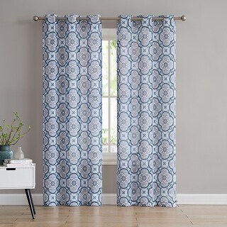 Winstead 2-Pack Damask Printed Sheer Grommet Panels, 76x84 Inches - 76 x 84