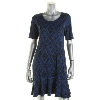 NY Collection Womens Petites Pattern Short Sleeve Flounce Dress - pm