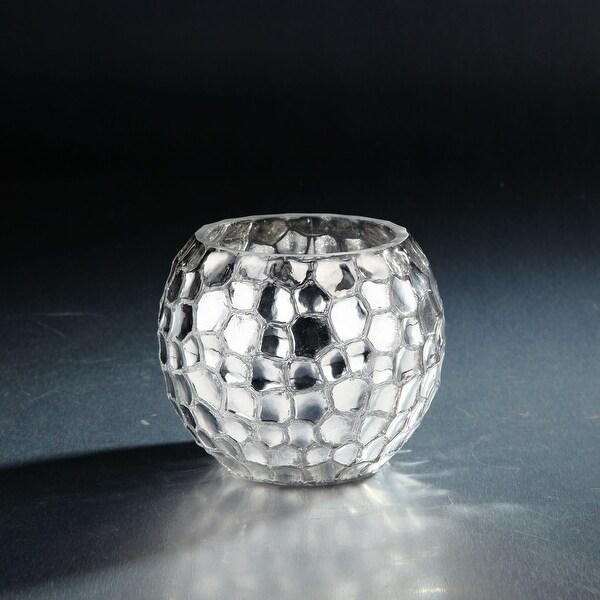 "5"" Metallic Silver Tabletop Glass Bowl Vase Tabletop Decor - N/A"