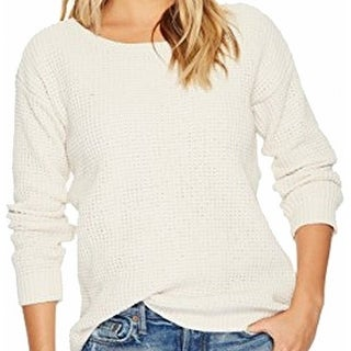 BB Dakota NEW White Ivory Womens Medium M Waffle-Knit Crewneck Sweater